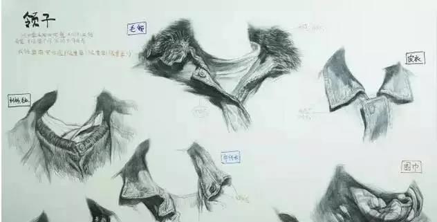 【素描干货】七种不同材质的衣领刻画方法,画素描头像得你一定会用到!